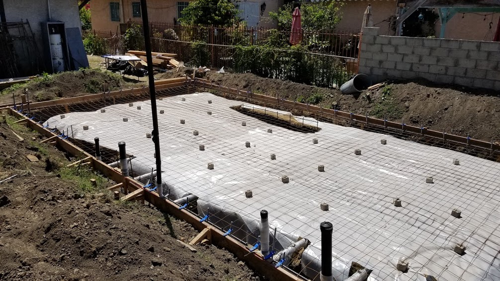 Slab on grade preparations for an ADU in Los Angeles